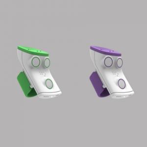 Deux appareils Rango, l'un vert l'autre violet.