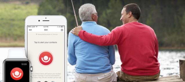 Diapo 1 : Gauche de l'image : Smartphone et smartwatch affichant l'application Help Around, droite de l'image: deux personne pêchant ensemble.