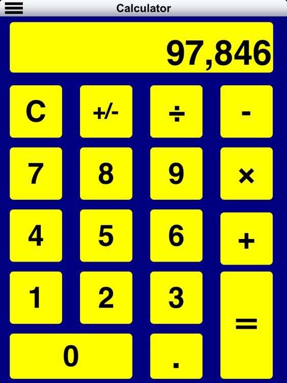 Diapo 6 : Image de l'application Clear Sight représentant une calculatrice en gros caractères