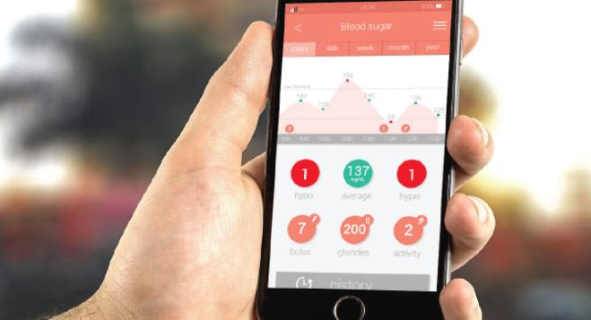 Diapo 2 : Application pour smartphone K'track Glucose, affichant les taux de glucose de son utilisateur.