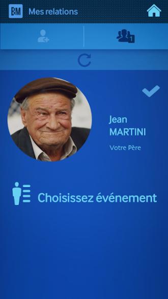 Diapo 2 : Page 'mes relations' de l'application Backup memory. Relation affiché : 'Jean Martini - Votre père' photo affichée: Homme, 70/80 ans. L'option 'choisissez un événement' apparaît en bas de l'image.
