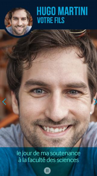 Diapo 3 : Haut de l'image:'Hugo Martini, votre fils'. Centre de l'image: photo d'un jeune homme souriant, légende 'jour de ma soutenance à la faculté des sciences'.