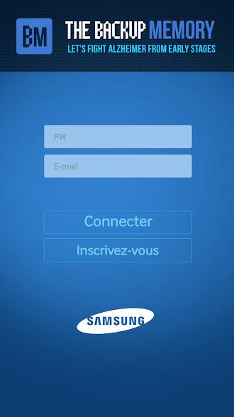Diapo 4 : Page de connexion de l'application Backup Memory. De haut en bas: Logo de Backup Memory, champ 'Identifiant' champ 'Mot de passe' bouton 'Connecter' bouton 'Inscrivez-vous' et logo de Samsung.