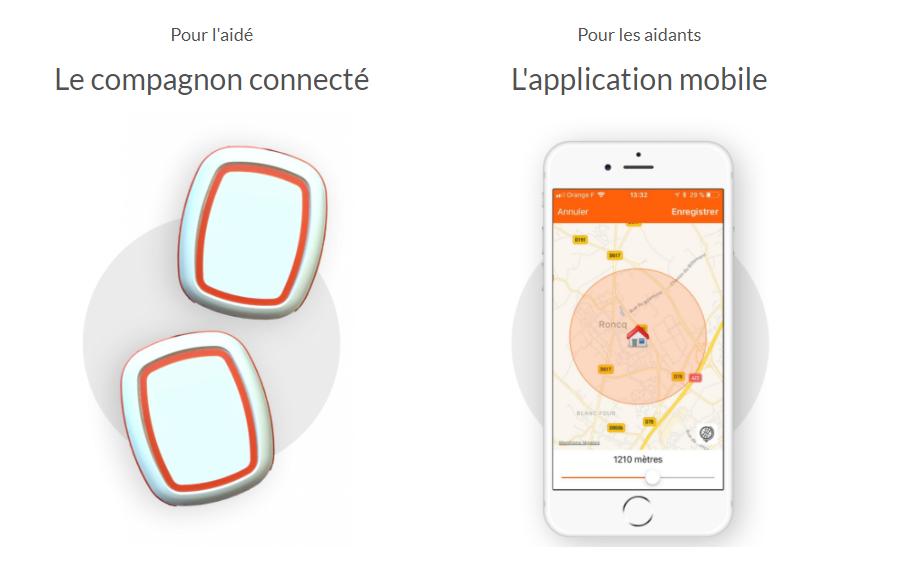Diapo 2 : Compagnon connecté Swap Assistance et smartphone avec Application Swap Assistance. Légende: 'Pour l'aidé: Le Compagnon connecté' et ' Pour les aidants l'application mobile'