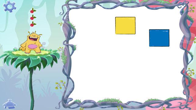 Diapo 3 : Exemple de jeu de l'application  Buddy's ABA apps, deux carrés de couleurs (jaune et bleu) se trouve dans un espace de jeu blanc.