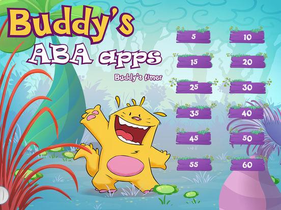 Diapo 4 : Menu de sélection des niveaux du jeux 'buddy's timer', numérotés de 5 en 5 jusqu'à 60.