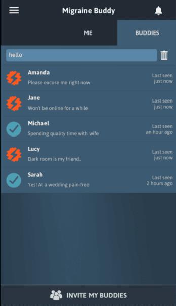 Diapo 4 : Page de l'application Migraine Buddy, où figurent les contacts (ou 'Buddies') de l'utilisateur.