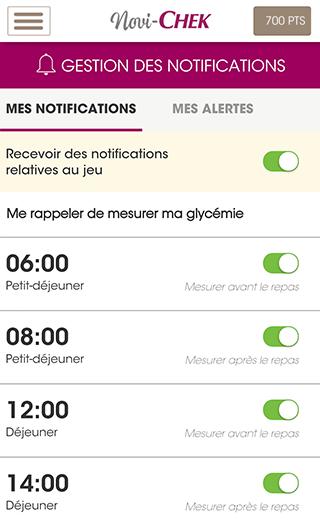 Diapo 1 : Page 'Mes notifications' de l'application Novi-check, l'utilisateur se prépare ici des alarmes pour lui rappeler de mesurer sa glycémie.