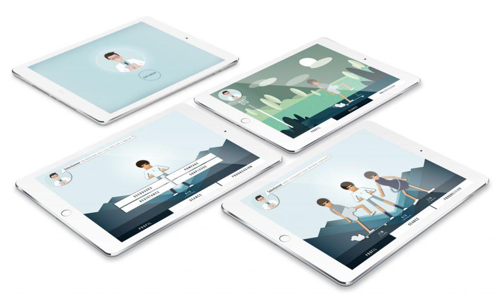 Diapo 2 : Présentation de l'application Atlas, sur quatre tablettes différentes.