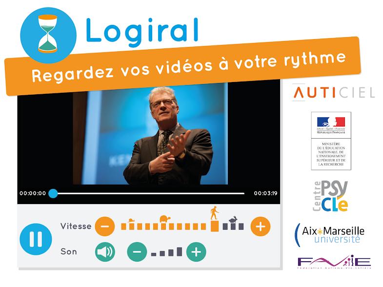 Diapo 4 : Présentation de l'application Logiral 'regardez des vidéos à votre rythme'. Une vidéo est affichée avec deux curseurs pour régler la vitesse de lecture et le son.