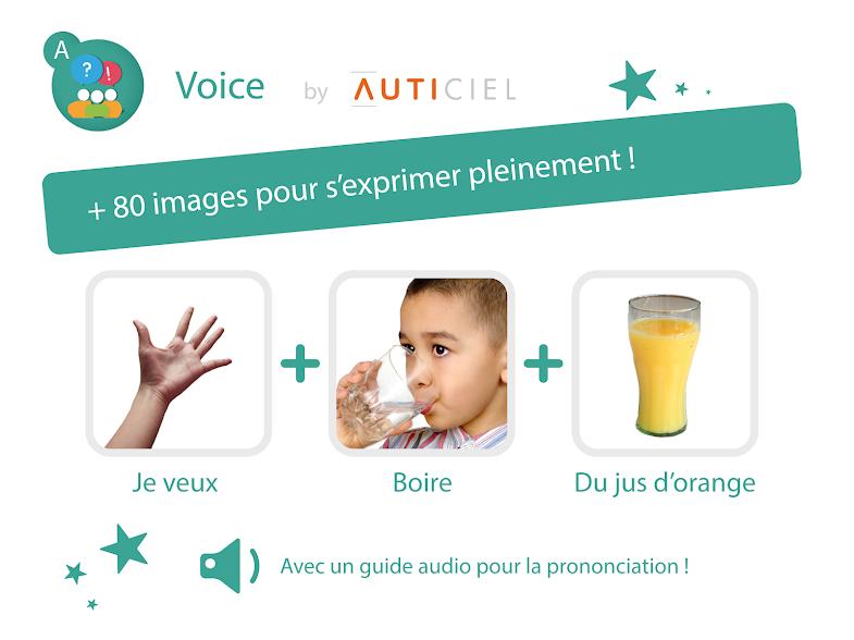 Diapo 6 : Présentation de l'application Voice '+80 images pour s'exprimer pleinement' . Trois images formes un exemple de phrase 'Je veux + boire + du jus d'orange'. Légende : 'Avec un guide audio pour la prononciation'