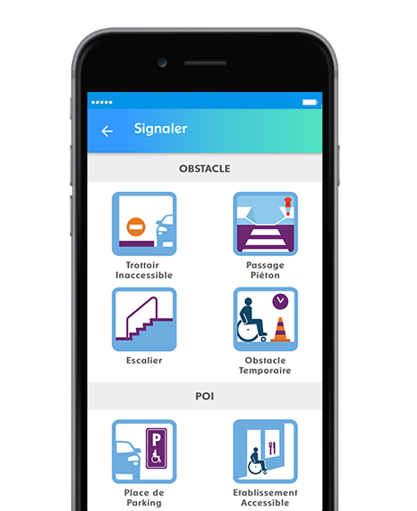 Diapo 5 : Page 'signaler' de l'application Streetco, Options: 'Obstacle' (Trottoir innaccessible, passage piéton, escalier, obstacle temporaire) et 'P.O.I' ( place de parking, établissement accessible).