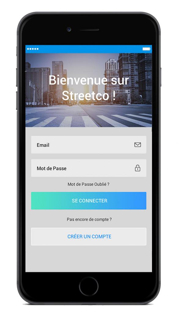 Diapo 6 : Page de connection de l'application Streetco. de haut en bas de l'image: Légende: 'Bienvenu sur streetco' Champ 'email' champ 'mot de passe' bouton 'se connecter' bouton 'créer un compte'.