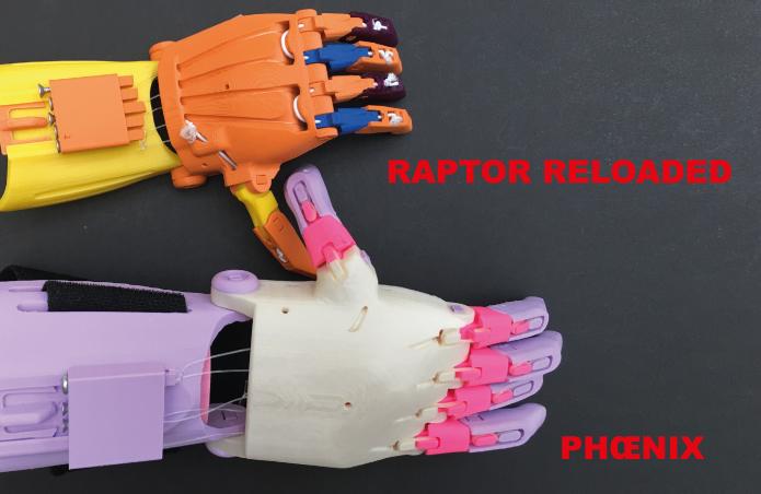 Diapo 1 : Deux modèles de prothèse de main : le 'Raptor Reloaded' et le 'Phoenix'.