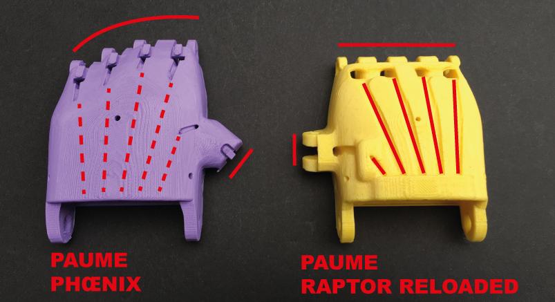 Diapo 2 : Pièces de la paume de deux modèles de prothèse de main : le 'Raptor Reloaded' et le 'Phoenix'.