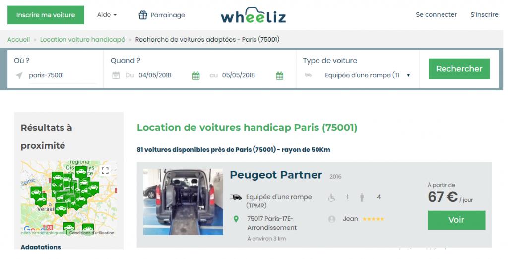 Diapo 3 : Page de résultat de recherche du site Wheeliz. Haut de l'image: Barre de recherche, bas de l'images: résultats de la recherche.