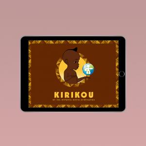 Page d'accueil de l'application Kirikou, titre: «Kirikou et les enfants extra-ordinaires»