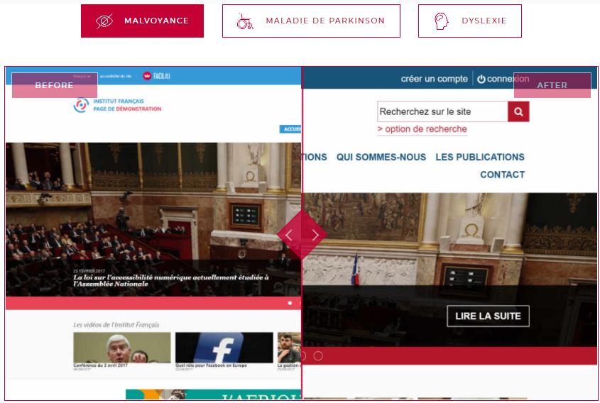 Diapo 4 : Image montrant la différence entre un site avec une page standard et une page adaptée aux malvoyants