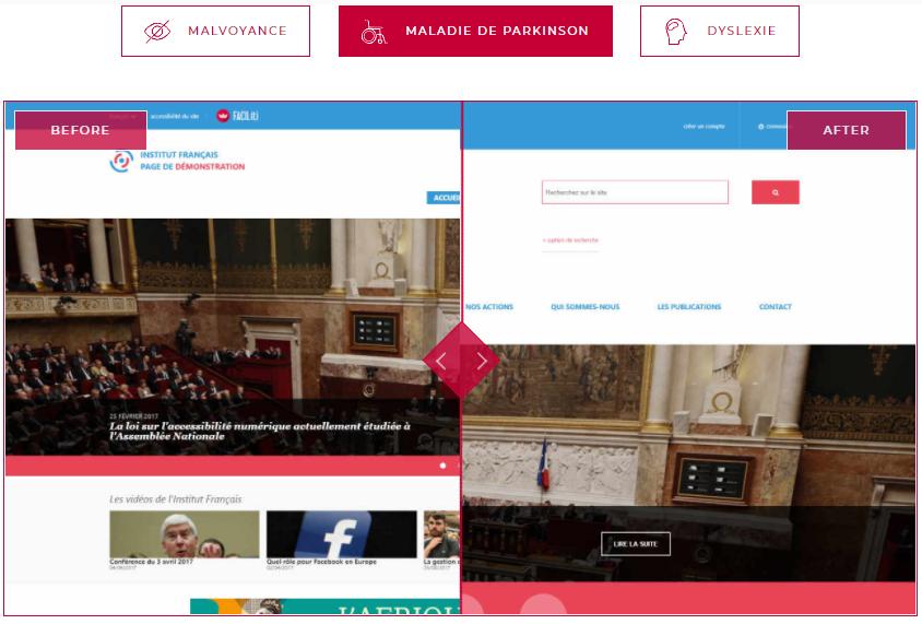 Diapo 3 : Image montrant la différence entre un site avec une page standard et une page adaptée aux personnes ayant la maladie de Parkinson