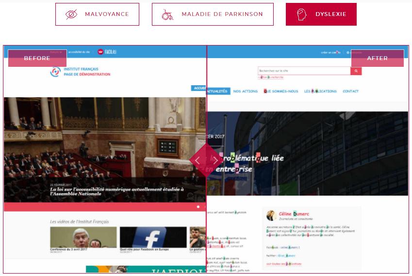 Diapo 5 : Image montrant la différence entre un site avec une page standard et une page adaptée aux dyslexiques