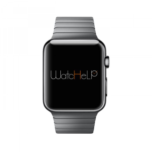 Montre connectée affichant le logo de L'application Watchelp