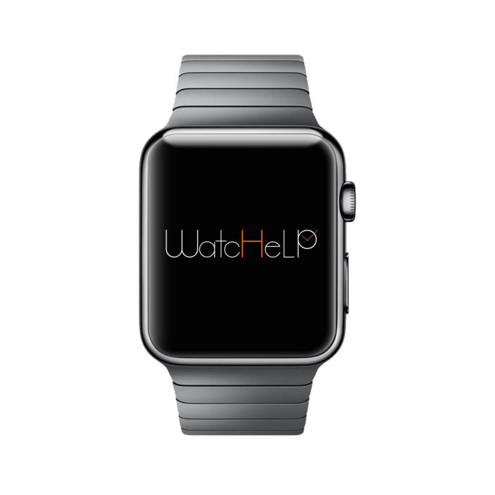 Diapo 7 : Montre connectée affichant le logo de L'application Watchelp