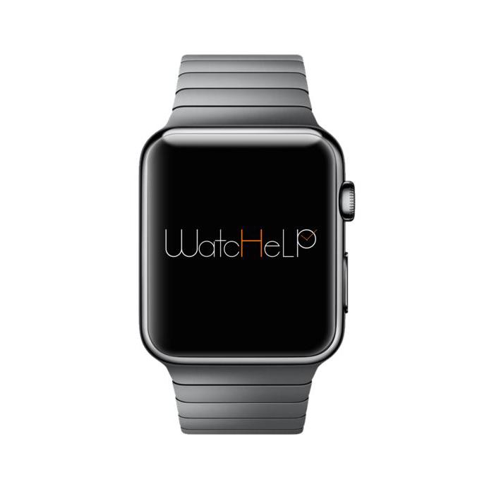 Diapo 7 : Montre connectée affichant le logo de L'application Watchelp