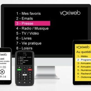 Télévision, smartphone et tablette, affichant l'application Voxiweb