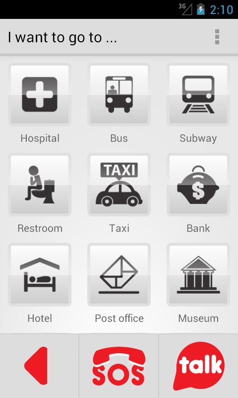 Diapo 2 : Image de l'application HelpTalk sur smartphone qui montre différents que peux choisir la personne (hôpital, bus, etc.)