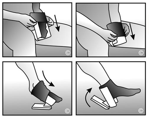 Diapo 5 : Image montrant comment enfiler sa chaussette avec le Sock Aid