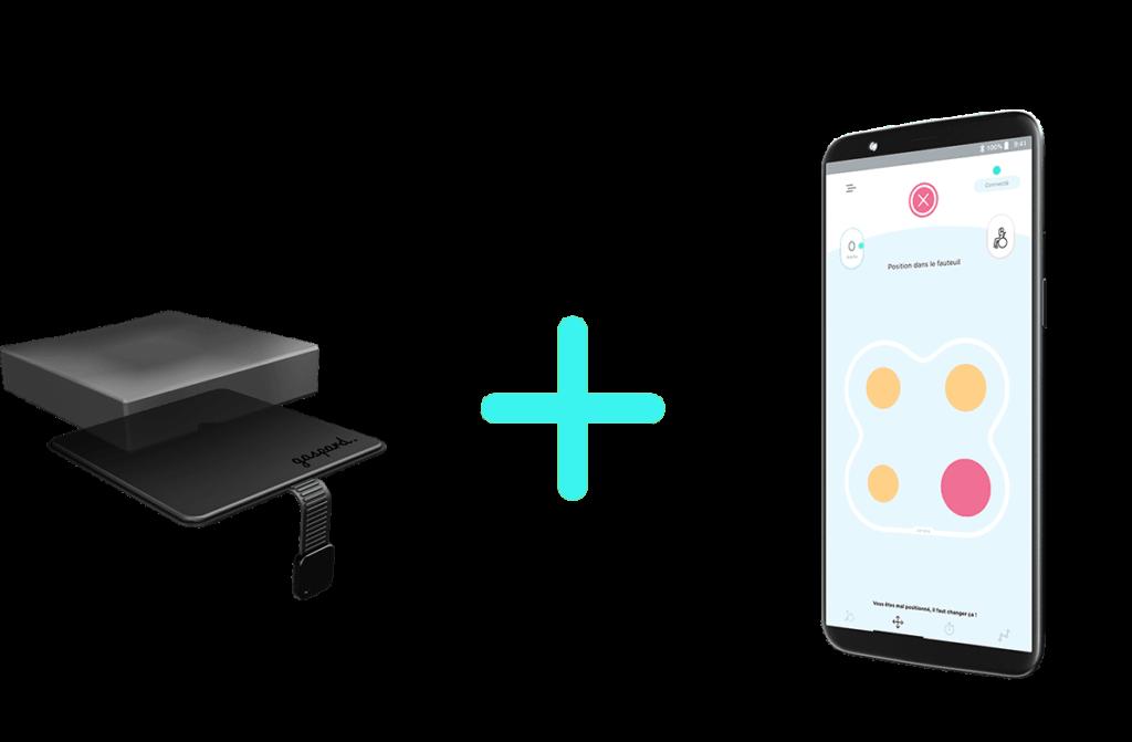 Diapo 4 : Dispositif Gaspard accompagné d'un téléphone avec l'application Gaspard qui montre si la personne est bien positionnée ou non