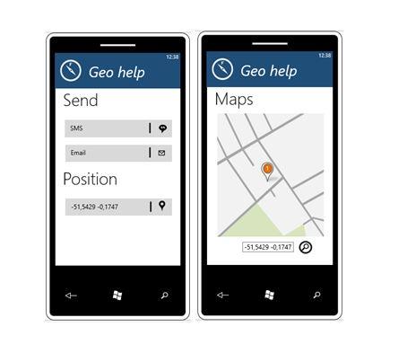 Diapo 3 : Image de deux smartphones avec l'application Geohelp qui montre la possibiité d'envoyer des messages, de signaler sa position, et d'utiliser la carte pour se diriger