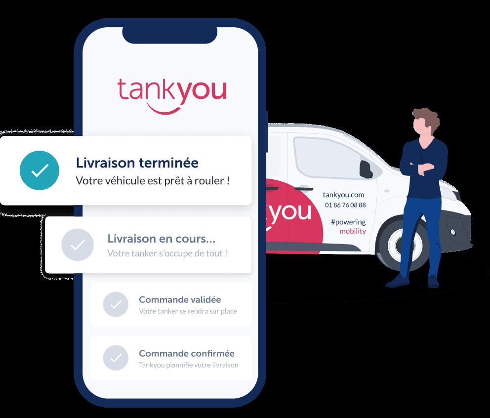 Diapo 4 : Image de l'application Tank You sur un smartphone