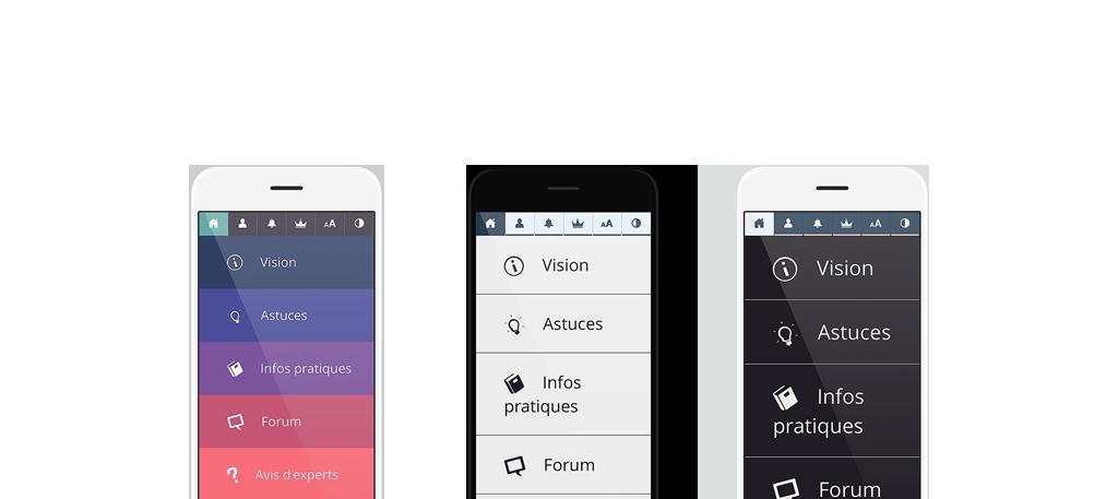 Diapo 4 : Image des fonctionnalités de l'application Auxivision sur smartphones