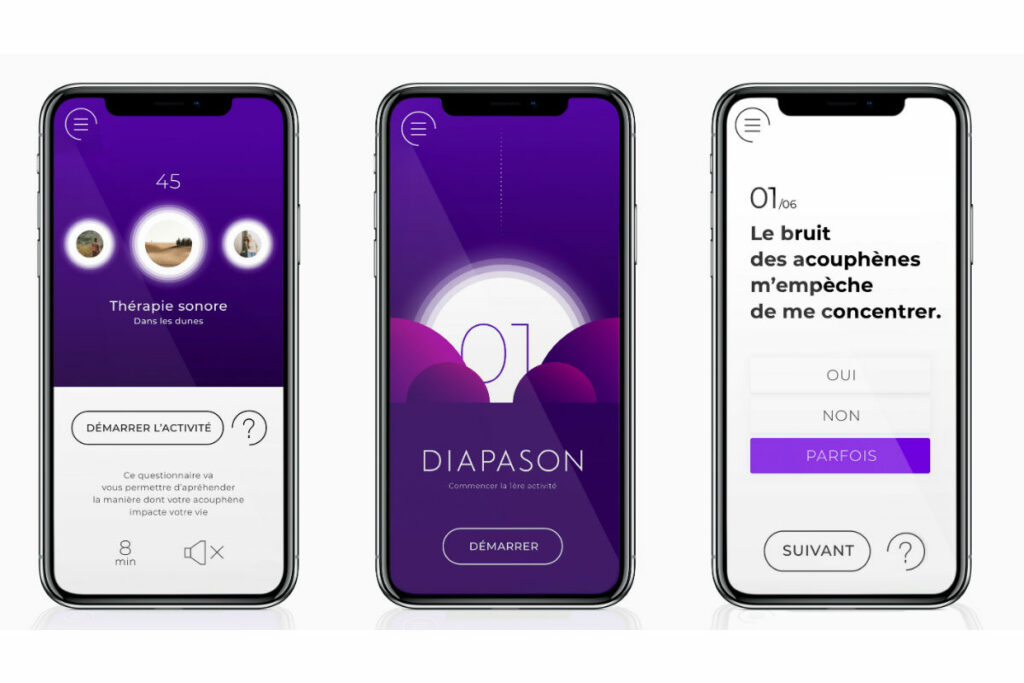 Diapo 4 : Image des interfaces de l'application diapason sur un smartphone