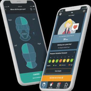 Image de l'application Migraine Buddy sur des smartphones