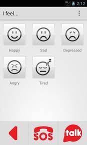 Diapo 3 : Image de l'application HelpTalk sur smartphone qui montre différentes humeurs que peux choisir la personne