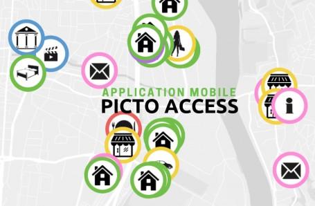 Diapo 5 : Image de l'application Picto Access avec les icones des différents services proposés (hôtels, postes, etc.)