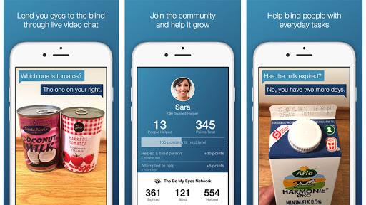Diapo 4 : Image des fonctionnalités de l'application Be My Eyes sur un smartphone