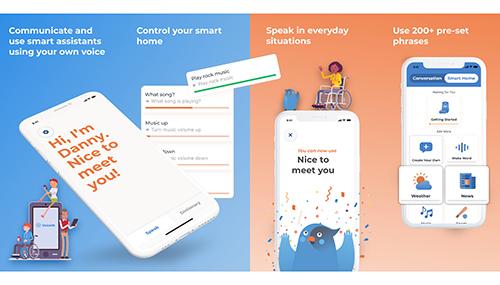 Diapo 5 : Photo montrant les différentes fonctionnalités de l'application Voiceiit sur des smartphones