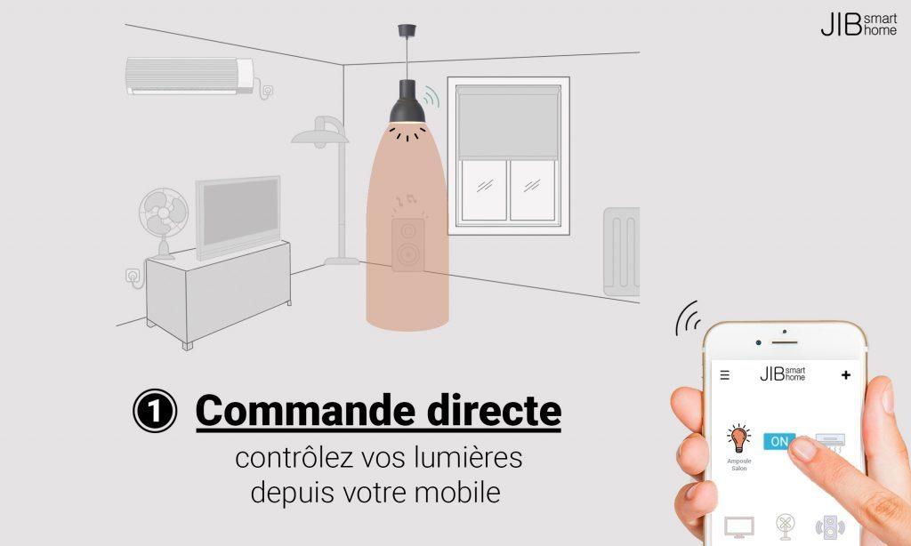 Diapo 5 : photo représentant le contrôle des lumières depuis le mobile