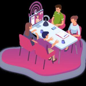 Image représentant une réunion de travail avec le système Elioz qui aide une personne malentendante à comprendre avec des signes