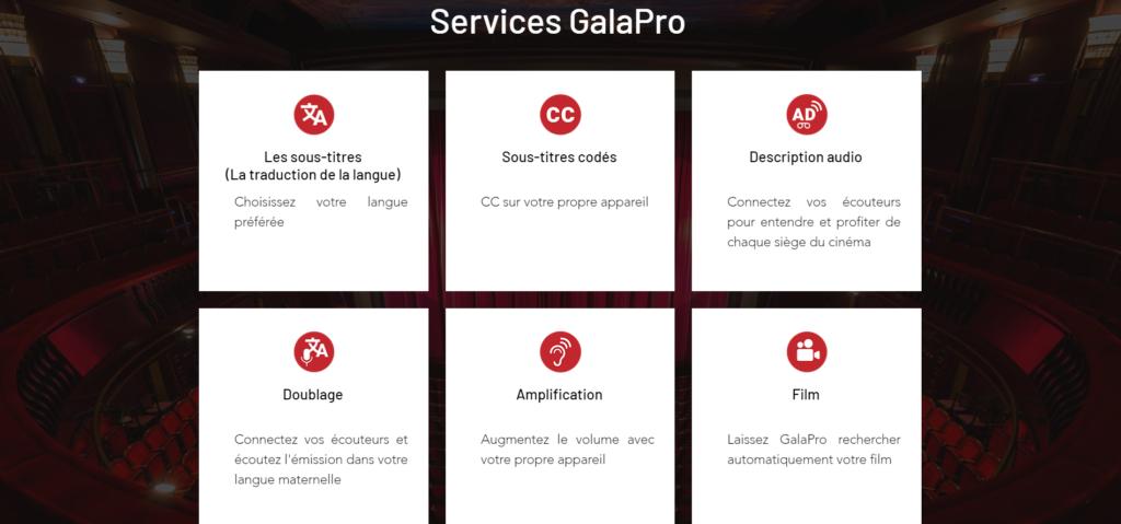 Diapo 5 : Image des différents services que propose Galapro