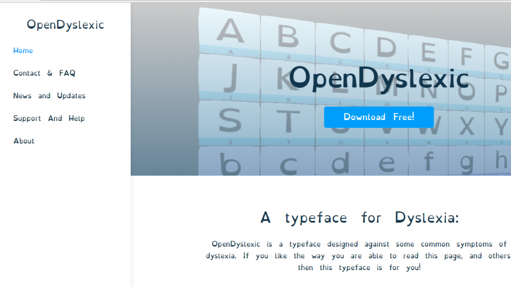 Diapo 1 : interface de opendyslexic