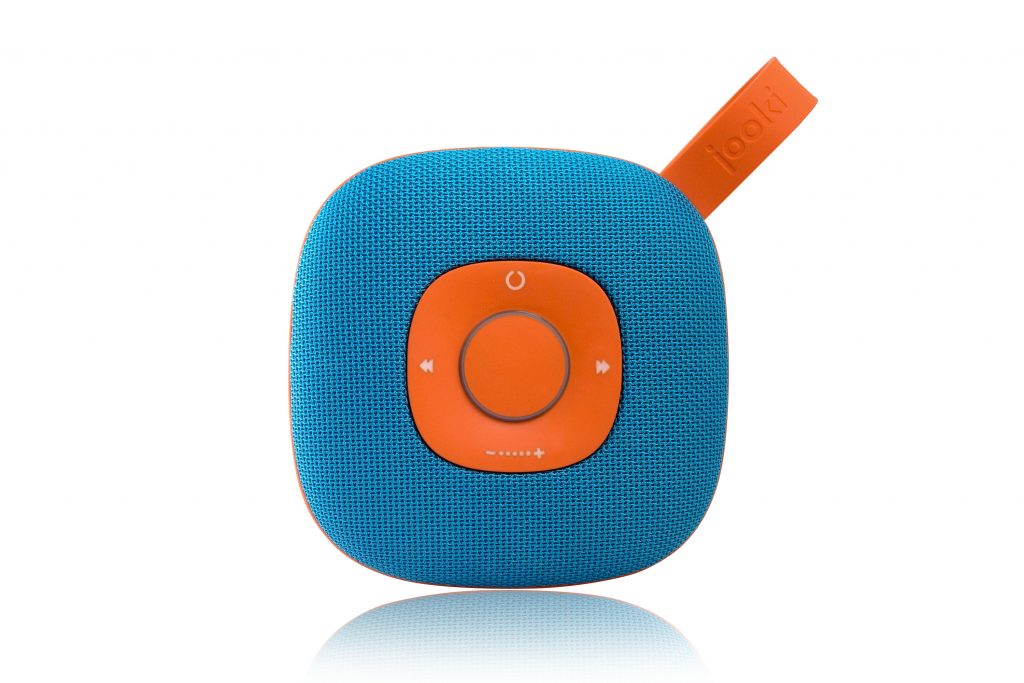 Diapo 3 : photo de l'enceinte jooki, desginé en bleu et orange