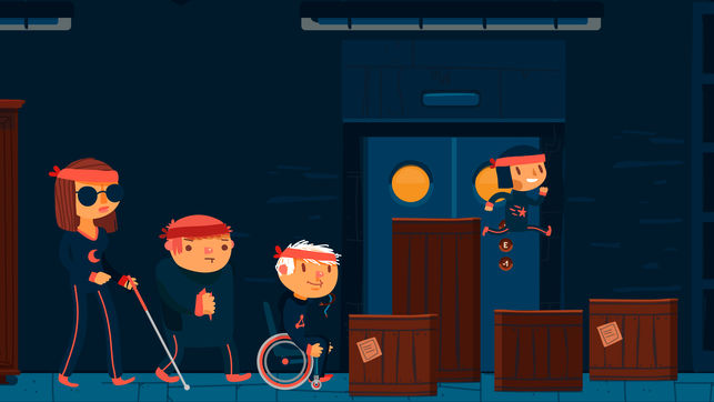 Diapo 4 : photo des 4 personnages du jeu en pleine action dans une salle