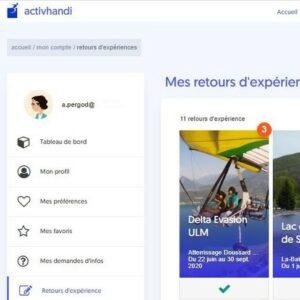 Interface de l'application activhandi