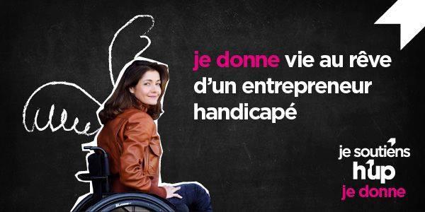 Diapo 3 : Image d'une femme en fauteuil roulant avec écrit à côté 'je donne vie au rêve d'un entrepreneur handicapé'