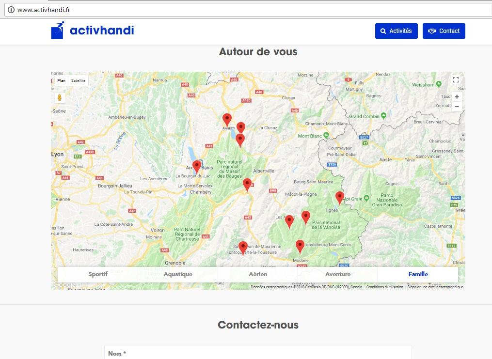 Diapo 4 : photo représentant les lieux accessibles sur le site internet activhandi