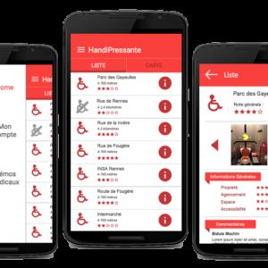 Images de l'application Handipressante sur des smartphones, avec des exemples de toilettes accessibles